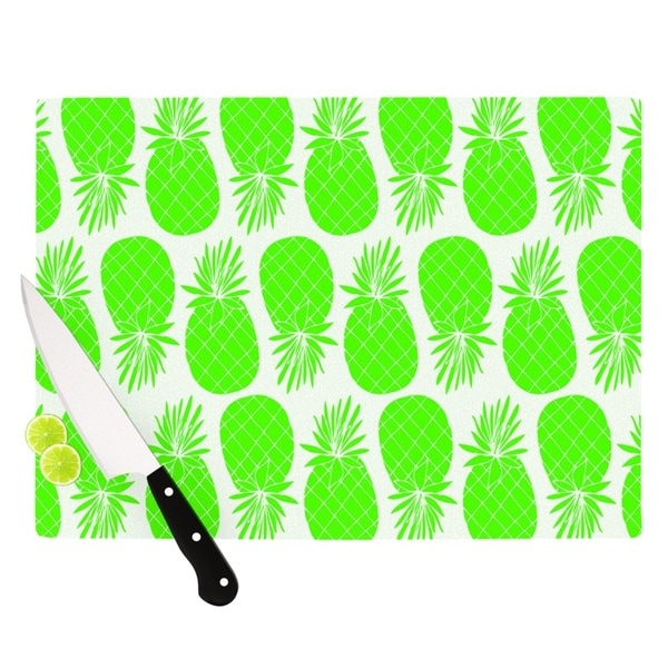 "Kess InHouse Anchobee ""Pinya Neon Green"" Lime Pattern Cutting Board"