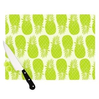 "Kess InHouse Anchobee ""Pinya Lime"" Green Pattern Cutting Board"