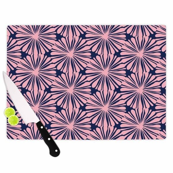 "Kess InHouse Amy Reber ""Pink Daisy"" Blue Pattern Cutting Board"