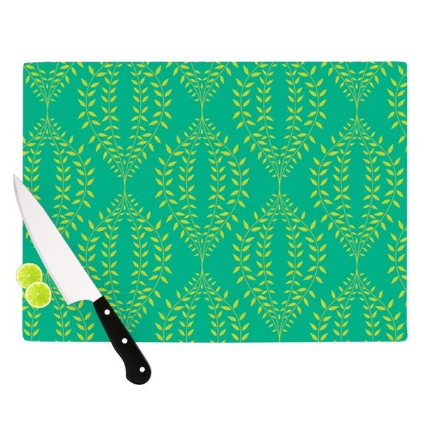 "Kess InHouse Anneline Sophia ""Laurel Leaf Green"" Teal Floral Cutting Board"