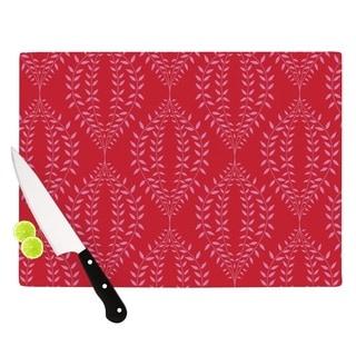 "Kess InHouse Anneline Sophia ""Laurel Leaf Red"" Maroon Floral Cutting Board"