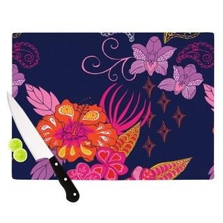 "Kess InHouse Anneline Sophia ""Tropical Paradise"" Purple Floral Cutting Board"