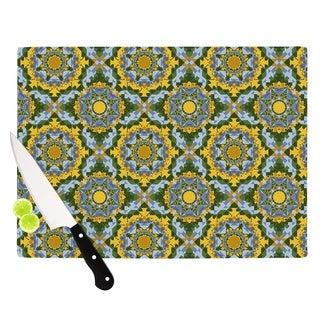 """Kess InHouse Anneline Sophia """"Aztec Boho"""" Yellow Blue Cutting Board"""