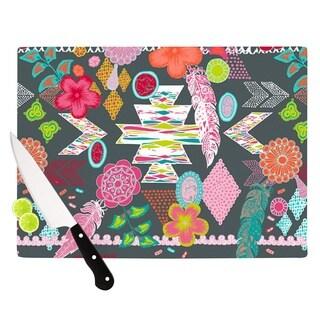 "Kess InHouse Anneline Sophia ""Aztec Boho Tropical"" Gray Rainbow Cutting Board"