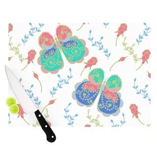 """Kess InHouse Anneline Sophia """"Leafy Butterflies Pink"""" Teal Butterfly Cutting Board"""