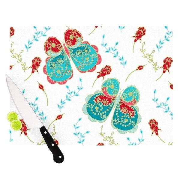 """Kess InHouse Anneline Sophia """"Leafy Butterflies Red"""" Aqua Butterfly Cutting Board"""