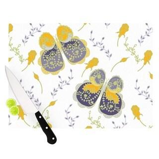 """Kess InHouse Anneline Sophia """"Leafy Butterflies Yellow"""" Purple Butterfly Cutting Board"""