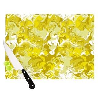 """Kess InHouse Anneline Sophia """"Marbleized In Gold"""" Yellow Cutting Board"""