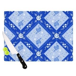 "Kess InHouse Anneline Sophia ""Diamonds Blue"" Aqua White Cutting Board"