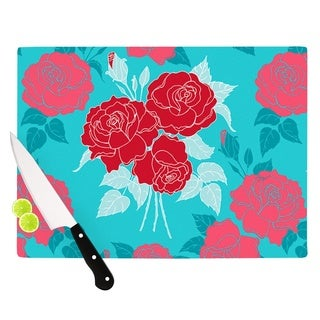 "Kess InHouse Anneline Sophia ""Summer Rose Red"" Blue Aqua Cutting Board"