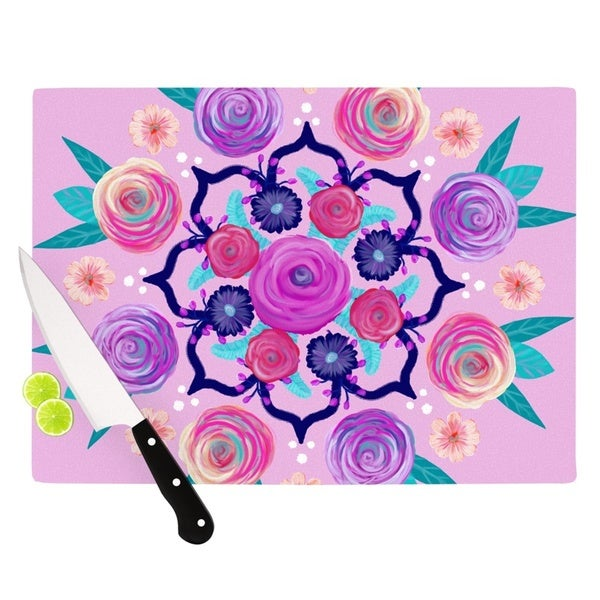 "Kess InHouse Anneline Sophia ""Expressive Blooms Mandala"" Pink Floral Cutting Board"