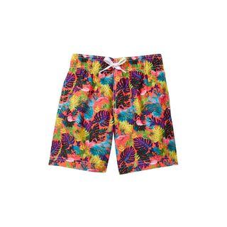 Boys' Multicolored Polyester Foliage Shorts