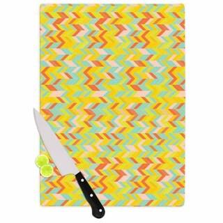 "Kess InHouse Allison Soupcoff ""Chevron Pop "" Yellow Pattern Cutting Board"