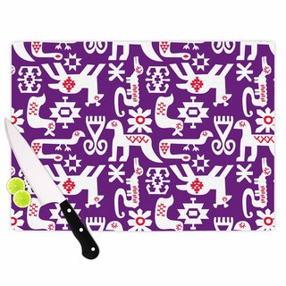 "Kess InHouse Agnes Schugardt ""The Tribe"" Purple Tribe Cutting Board"