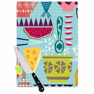 "Kess InHouse Agnes Schugardt ""Dinner Out"" Food Vintage Cutting Board"