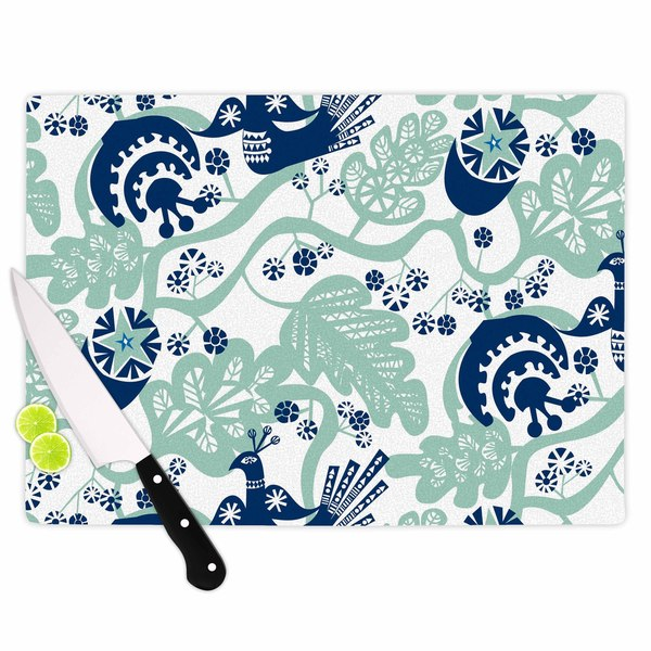"Kess InHouse Agnes Schugardt ""Folk Birds"" White Vector Cutting Board"