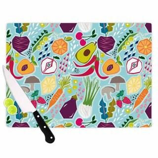 """Kess InHouse Agnes Schugardt """"Garden Song"""" Blue Food Cutting Board"""