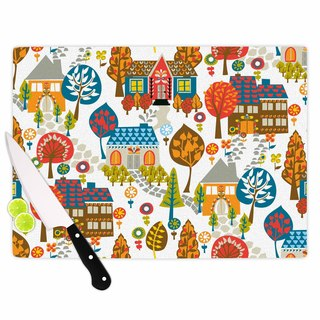 "Kess InHouse Agnes Schugardt ""In The Village"" Vintage Multicolor Cutting Board"