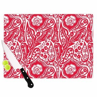 "Kess InHouse Agnes Schugardt ""Paisley"" Paisley Red Cutting Board"