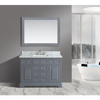 Rochelle White/ Grey Marble/ Wood 48-Inch Bathroom Sink Vanity Set