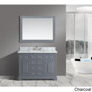 Rochelle White/ Grey Marble/ Wood 48-Inch Bathroom Sink Vanity Set (3 options available)