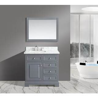 Rochelle White Italian Carrara Marble and Grey Wood 36-inch Bathroom Sink Vanity Set