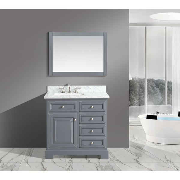 Shop Rochelle White Italian Carrara Marble And Grey Wood 36-inch Bathroom Sink Vanity Set