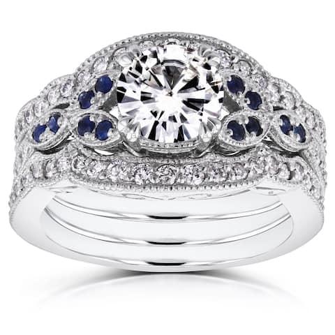 Annello by Kobelli 14k White Gold Moissanite Blue Sapphire and 1/2ct TDW Diamond Vintage Floral 3-Piece Bridal