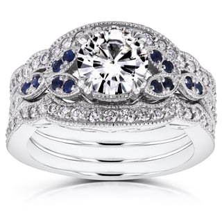 Annello by Kobelli 14k White Gold Moissanite Blue Sapphire and 1/2ct TDW Diamond Vintage Floral 3-Piece Bridal