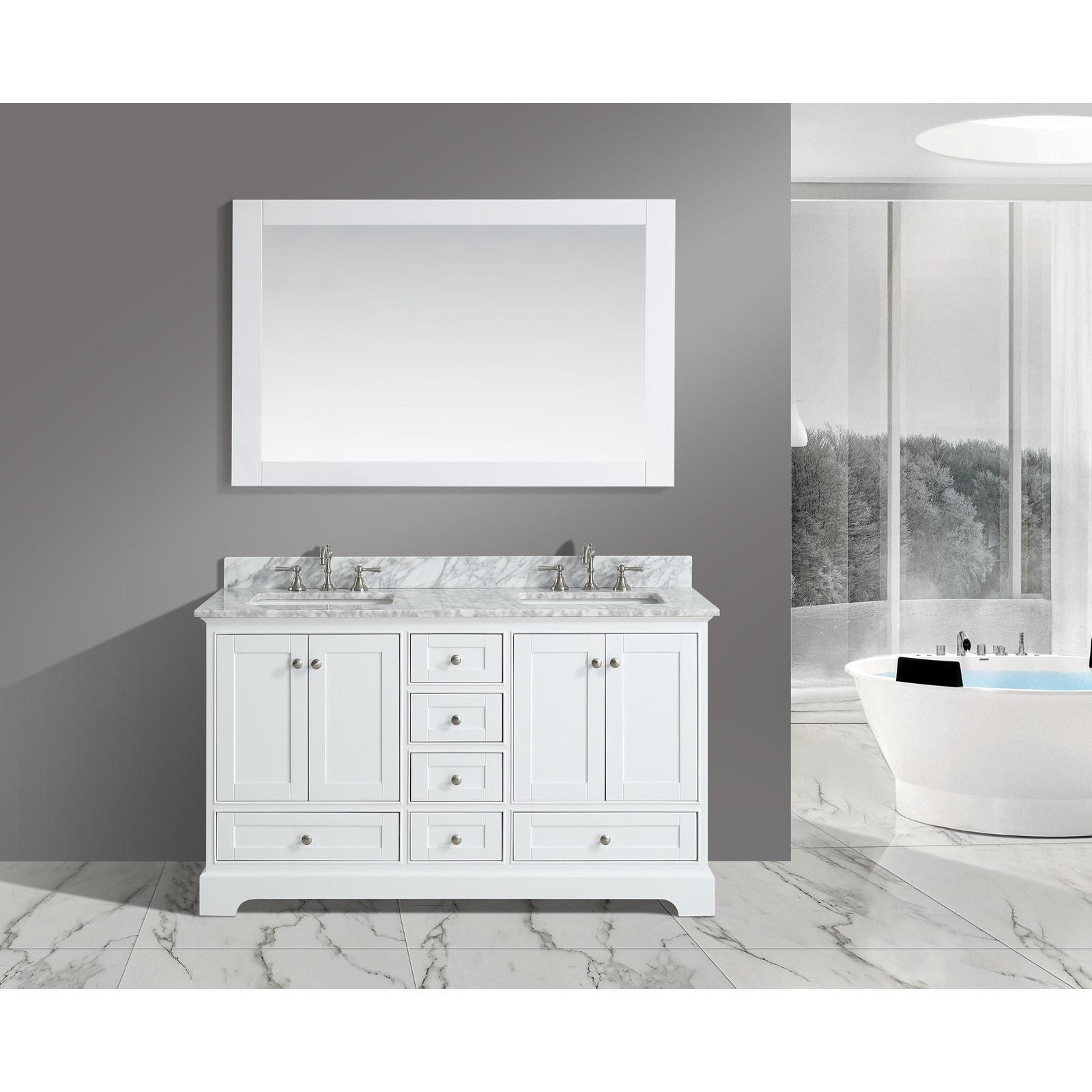 Urban Furnishing Jocelyn White Italian Carrara Marble 60-...