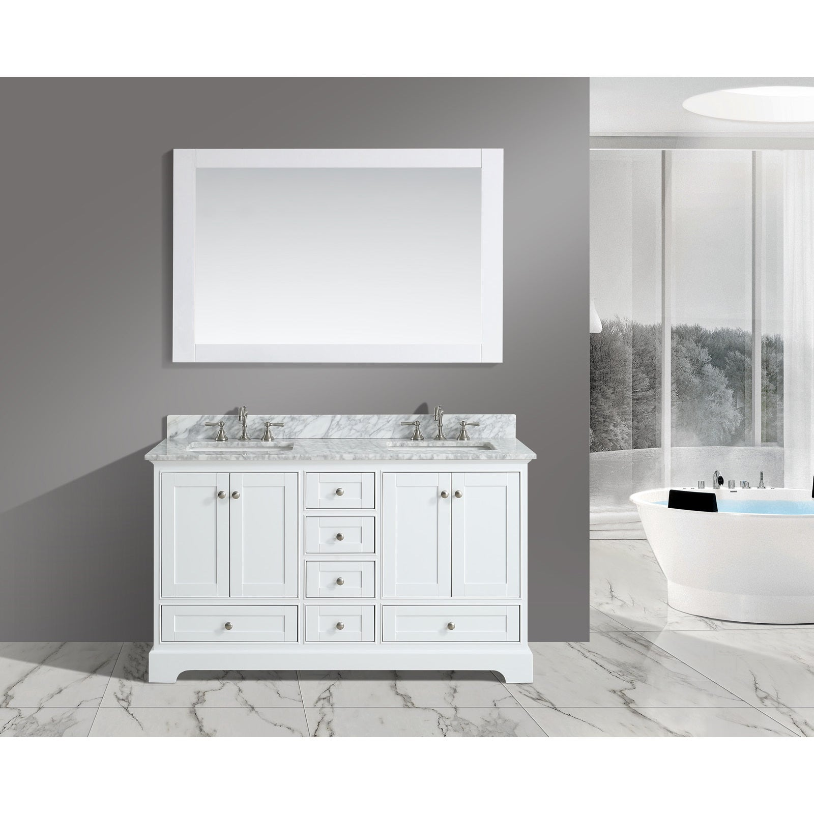 Urban Furnishing Jocelyn White Italian Carrara Marble 60 Inch Bathroom Sink  Vanity Set (3