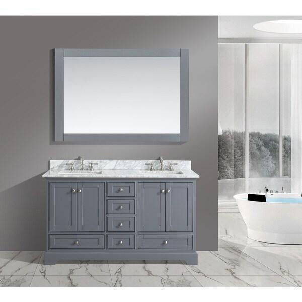 Urban Furnishing Jocelyn White Italian Carrara Marble 60 Inch Bathroom Sink Vanity Set
