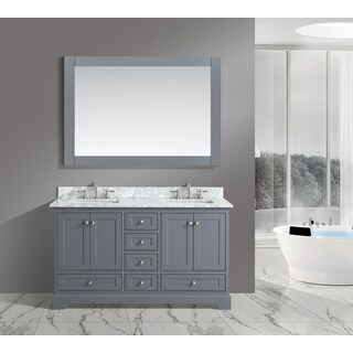 Urban Furnishing Jocelyn White Italian Carrara Marble 60-inch Bathroom Sink Vanity Set