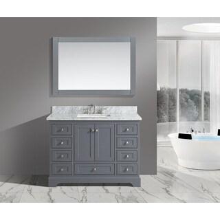 Jocelyn Grey Wood 48-Inch Bathroom Sink Vanity Set With White Italian Carrara Marble Top
