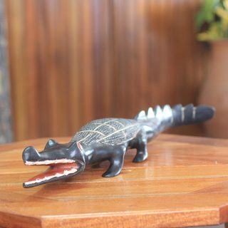 Handcrafted Sese Wood 'Olokun' Sculpture (Ghana)