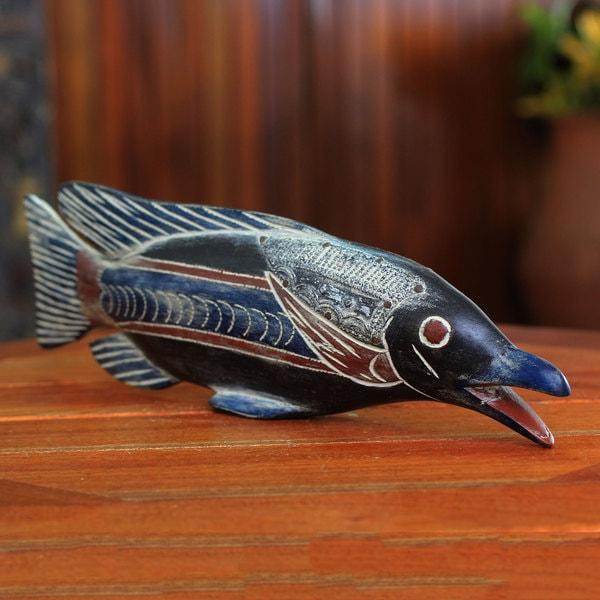 Handcrafted Sese Wood 'African Onyakele Fish' Sculpture (Ghana)