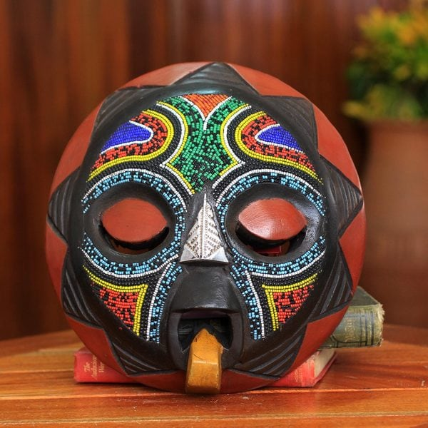 African Beaded Rubberwood 'Asomdwoe II' Wall Mask  (Ghana)