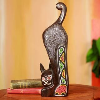 Handcrafted Beaded Sese Wood 'Abyssinian Cat' Sculpture (Ghana)
