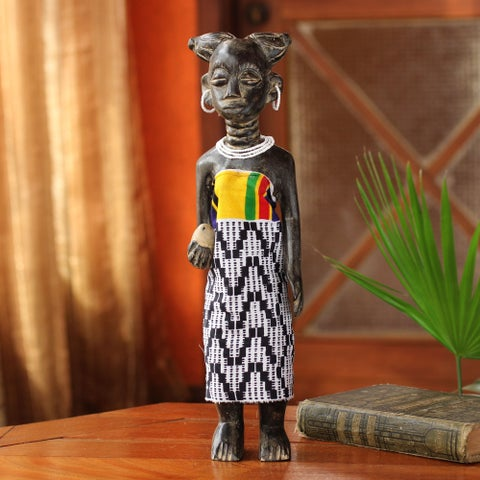 Handcrafted Sese Wood 'On Her Birthday' Sculpture (Ghana)