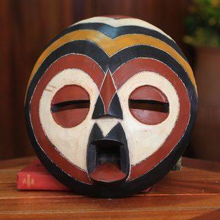 Handcrafted Rubberwood 'Sangaya' Mask (Ghana)