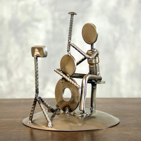 Handmade Auto Part 'Rustic Cellist' Metal Sculpture (Mexico)