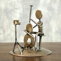 Handmade Auto Part 'Rustic Cellist' Metal Sculpture (Mexico)