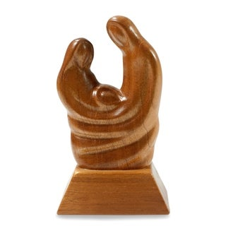 Handmade Mahogany Wood 'Birth' Sculpture (Guatemala)