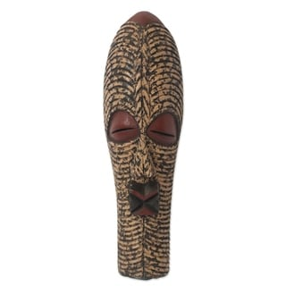 Handcrafted Sese Wood 'In Silence' African Wall Mask (Ghana)