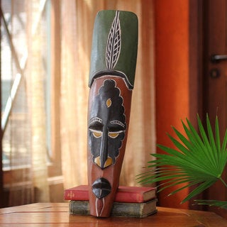 Handcrafted Sese Wood 'Working Man' African Wall Mask (Ghana)