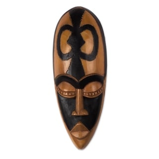 Handcrafted Sese Wood 'Beauty and Faith' African Wall Mask (Ghana)