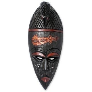 Handcrafted Sese Wood 'African Sword' African Wall Mask (Ghana)