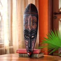 Handcrafted Sese Wood 'Fire Walker' African Wall Mask (Ghana)
