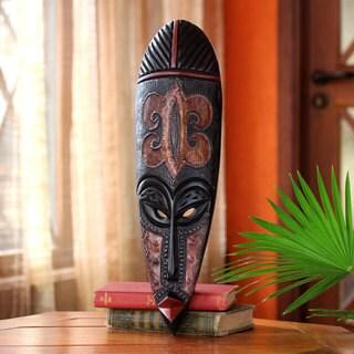 Handmade Sese Wood 'Fire Walker' African Wall Mask (Ghana)