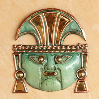 Handcrafted Copper Bronze 'Moche God Great Ai Apaec' Warrior Mask (Peru)